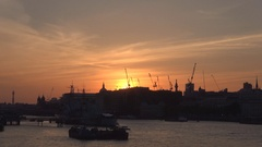 London Cityscape in Red Sunset with Buildings Silhouette River Thames View. Stock Footage