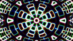 Dark Colorful Neon Glow Complex Psychedelic Kaleidoscope Motion Background Loop Stock Footage