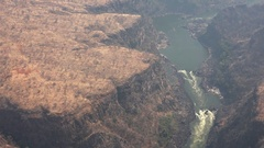 Victoria Falls and Zambezi River aerial Footage Stock Footage