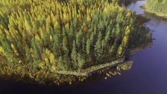 Aerial shot of old fortification barrier by a canal in finland Stock Footage