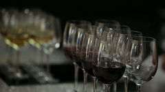 A man takes glass of wine on an evening-party Stock Footage