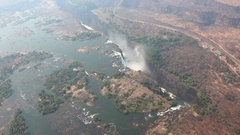 Victoria Falls (and Zambezi River) 4K aerial footage Stock Footage