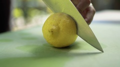 Cutting Lemon Iced Tea Stock Footage