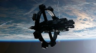 Space Station Orbiting Earth. Elements of this image furnished by NASA. Stock Footage