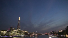Beautiful Cityscape with Imposing London City Lighted in a Summer Night View.  Stock Footage