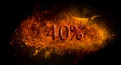 Fire flame explosion on black background Red 40 percent % on fire flame explosio Stock Illustration