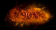 Fire flame explosion on black background Red 90 percent % on fire flame explosio Stock Illustration