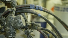 Close up dirty paint shop equipment Stock Footage