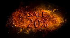 Fire flame explosion on black background Red Sale 20%  on fire flame explosion,  Stock Illustration