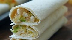 Ready burritos with chicken in corn tortillas Stock Footage