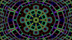 Dark Colorful Neon Complex Psychedelic Kaleidoscope Motion Background Loop 3 Stock Footage