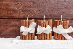 Traditional Christmas decoration background with snow Stock Photos