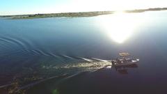 Sunset boat cruise in the Okavango Delta Stock Footage
