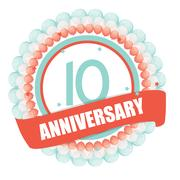 Cute Template 10 Years Anniversary with Balloons and Ribbon Vect Stock Illustration