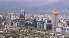 ZO of the Santiago de Chile skyline Stock Footage