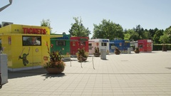 Big empty courtyard at Lego Land in Denmark Stock Footage