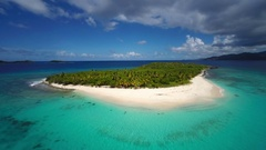 Aerial view of the beach at Sandy Cay, British Virgin Islands Stock Footage