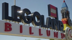 Close up of Lego Land Billund Sign in Denmark Stock Footage