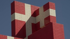 Close up of Denmark Flag made of Lego blocks Stock Footage