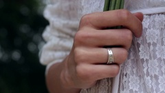 Bride Hand Wedding Ring Hold Bouquet White Dress Stock Footage