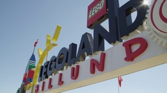 Dynamic view of Lego Land Sign in Denmark Amusement Park Stock Footage