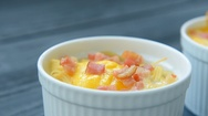 Delicious pasta with egg and bacon Stock Footage
