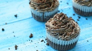 Homemade cupcakes with tender chocolate cream Stock Footage