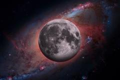 Earths Moon. Outer space background. Stock Photos