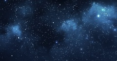 A beautiful deep blue panning view of the milkyway & the stars & distant planets Stock Footage