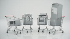 Home appliances in the shopping cart. E-commerce or online shopping concept. Piirros