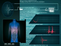 Digestion - Interface - medical screen - graphics - blue - SD Stock Footage