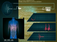 Digestion - Interface - medical screen - graphics - yellow - SD Stock Footage