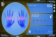 Hands - Interface - medical screen - yellow - SD Stock Footage