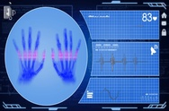 Hands - Interface - medical screen - blue - SD Stock Footage