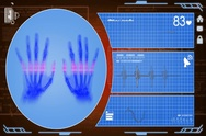 Hands - Interface - medical screen - red - SD Stock Footage