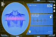 Heart - Interface - medical screen - yellow - SD Stock Footage