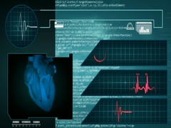 Heart - Interface - medical screen - graphics - blue - SD Stock Footage