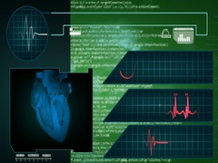 Heart - Interface - medical screen - graphics - green - SD Stock Footage