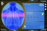 Lungs - Interface - medical screen - yellow - SD Stock Footage