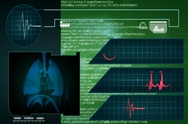 Lungs - Interface - medical screen - graphics - green - SD Stock Footage