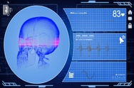 Skull - Interface - medical screen - blue - SD Stock Footage