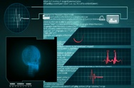 Skull - Interface - medical screen - graphics - blue - SD Stock Footage