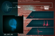 Skull - Interface - medical screen - graphics - red - SD Stock Footage