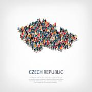 People map country Czech Republic Stock Illustration