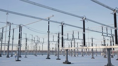 Power station, high-voltage wires Stock Footage