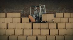 Forklift truck in warehouse or storage loading cardboard boxes. 3d Stock Illustration
