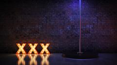 Marquee light xxx letter sign, render 3D Stock Illustration
