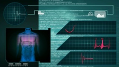 Digestion - Interface - medical screen - graphics - blue Stock Footage