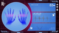 Hands - Interface - medical screen - purple Stock Footage