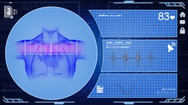 Heart - Interface - medical screen - blue Stock Footage